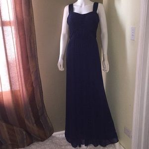 NWOT ALFRED SUNG Midnight Blue Ruffle Gown size 12